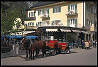 Horse Carriages waiting to take tourists up to Neuschwanstein (King Ludwig II's great castle in Bavaria).