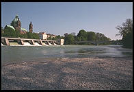 Isar River.  Downtown Munich next to Deutsches Museum.