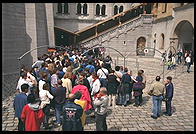 People waiting to get into Neuschwanstein, Bavaria.  In the summer, these lines can be 3 hours long.  People die in the heat.