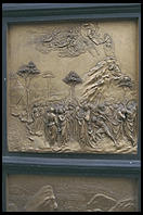 Moses Receives the Ten Commandments, one of Lorenzo Ghiberti's 10 panels in the east door of Florence's Baptistry (c. 1430)