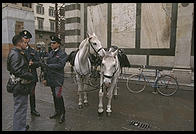 Policemen and horses in the very center of Florence