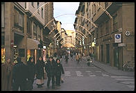 A main shopping drag in downtown Florence, closed to vehicles