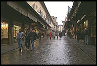 On the Ponte Vecchio in the rain