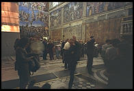 Inside the Sistine Chapel, where one isn't supposed to take photos (though I didn't know that; I though they just didn't permit flash)