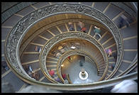 The circular staircase leading up to the Vatican museums.  It was designed by Giuseppe Momo in 1932