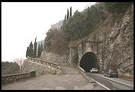One of the many tunnels in the 34-mile road around Lake Garda