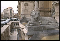 A lion in the Fontana dell'Acqua Felice (