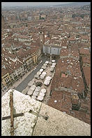 View of Verona's Piazza Erbe from the Torre dei Lamberti