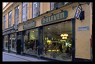 Seven Eleven and Body Shop, Gamla Stan, Stockholm from Fjallgatan on Sodermalm.