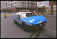 Police car following accident. Manhattan 1995.