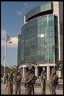 International Financial Services Center (with famine monument in foreground). Dublin, Ireland.