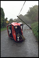 Overturned Golf.  Entering the Wicklow Mountains south of Dublin, Ireland.