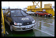 Avis rental minivan on ferry to Faro.  Northern Gotland.  Sweden