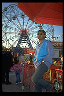 Sunglasses & ferris wheel.  Coney Island.