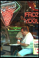 Frozen Yogurt.  6th Avenue and 12th.  Manhattan 1995.