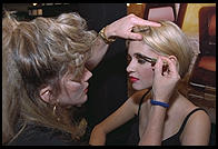 Christina Perreault, aged 14, suffering from chicken pox at the 1995 IMTA Show in Manhattan.  Being made up by Francesca Milano.