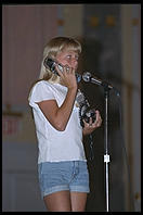 Girl does a telephone commercial in a talent show.  IMTA Show 1995 Manhattan