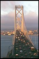 Traffic Jam on the Bay Bridge.  San Francisco, California (at 6:30 am, from Treasure Island)