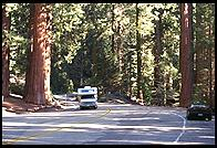 Motorhome on the mountain roads of Sequoia National Park.  California.