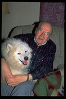My grandfather Nick and his companion Sky (a Samoyed bitch)