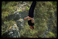 Alex bungee jumping near Queenstown.  South Island, New Zealand.