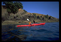 Brigitte in a kayak in the Bay of Islands, North Island, New Zealand.