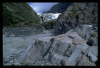 Hiking out to the face of a glacier on the west coast of the South Island, New Zealand.