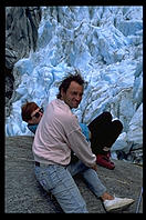 Stefan and Marita on the face of a glacier on the west coast of the South Island, New Zealand.
