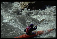 Kayaker on the Nenana River.  Just outside Denali National Park (Alaska)