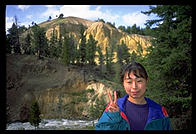 Hiromi on the trail to Tower Falls, Yellowstone National Park