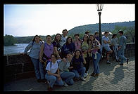 Group of Italian schoolgirls visiting Prague