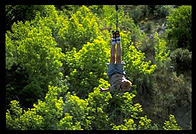 Klaus Schrodt bungee jumps near Queenstown, South Island, New Zealand