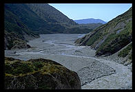Water running out of a glacier on the west coast of the South Island of New Zealand.