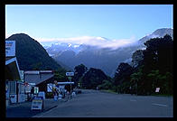 Downtown Franz Josef at 7:45 am.  West coast of the South Island of New Zealand.