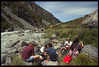Lunch by a river in Mt. Cook National Park, South Island, New Zealand