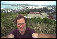 Me with Wellington, New Zealand as a background