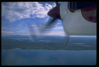 Flying over Naknek Lake from King Salmon to Brooks Lodge, Katmai National Park.  The Twin Otter lands on floats with a surprising degree of smoothness.