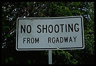 No Shooting sign on the Kenai Peninsula