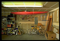 Liz's garage in Boulder, Colorado, evidence of the lust for outdoor recreation that induces people to move here