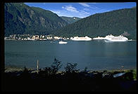 View of downtown Juneau, Alaska and harbor (with cruise ships).