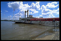 The Riverboat McDonalds floating in what used to be its parking lot.  St. Louis, Missouri during the Great Mississippi Flood of 1993.