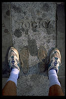 The feet of Rocky, at the top of the Philadelphia Art Museum