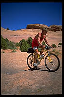 A Dutch mountain biker on the Slickrock Trail.  Moab, Utah.