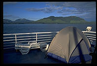 Tents pitched on the deck of an Alaska Marine Highway ferry.