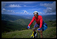 Mountain biking off the lift in Vail, Colorado