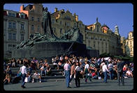 Prague's Old Town Square, where American and Canadian deadbeats hang out
