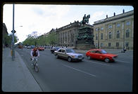 Frederick the Great rides in the middle of Unter den Linden, whose trees were cut down to facilitate Nazi parades