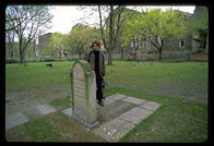 John stands alone where the tombstones of 12,000 Jews once were (the Nazis dug up the graves)