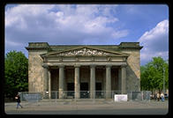 The Neue Wache (New Watch), built as a guardhouse for the Kaiser, became Germany's unknown soldier monument after the First World War.  Hitler remade it slightly into a monument glorifying militarism and victorious Russians turned it into a monument to the victims of the Nazis.  Now the Germans are are turning it into a universalist monument.