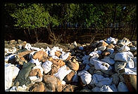 Sandbags holding back the Great Flood of 1993, near St. Louis, Missouri